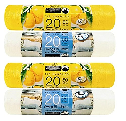 Tidyz 2 (80 forros) asas fuertes para corbata, 50 litros, bolsas de basura perfumadas, 20 limones, 20 limones, 20 limones, 20 brisa de verano de lino fresco, ideal para cocina, dormitorio, baño, etc.