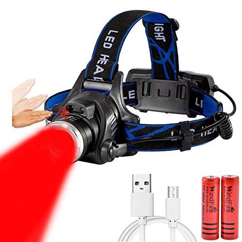 LUXJUMPER Linterna Frontal LED Recargable USB, 3600LM Linterna Cabeza 3 Modos Sensor...