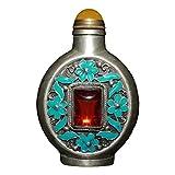 LAOJUNLU Rubino cloisonné Bianco Bronzo Ornamenti per Bottiglie di Tabacco da Fiuto Orphan Ancient Bronze Masterpiece Collection Decorazioni in Stile Tradizionale Cinese