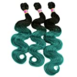 Synthetic Bundles Body Wave Hair Weave Two Tone Ombre Color Black To Green 16 18 20 Inches Mixed 3 Bundles Wavy Hair Extensions