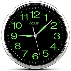 OCEST Wall Clock, 12 Inch Silent Non-Ticking Quartz Wall Clock with Night Light Large Display Battery Operated for Indoor Kitchen Office Bathroom Living Room Garage (Upgrade Version)