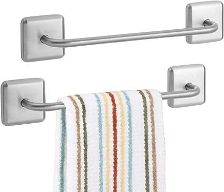 be6172b2c75 mDesign Juego de 2 toalleros Adhesivos para baño y Cocina – Elegante  toallero de Barra de