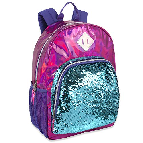 Holographic Laser Leather Reversible Sequin Backpacks for Women and Girls, with Water Bottle Holder, Padded Straps (Dark Pink)