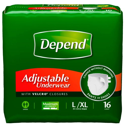 Depend Adjustable Underwear, Large/X-Large, 16-Count Packages (Pack of 4)