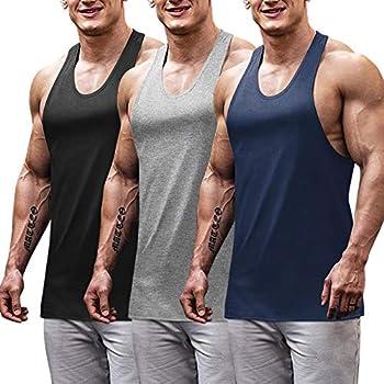 COOFANDY Men s Workout Tops 3 Pack Bodybuilding Tank Tops Muscle Builder Tee
