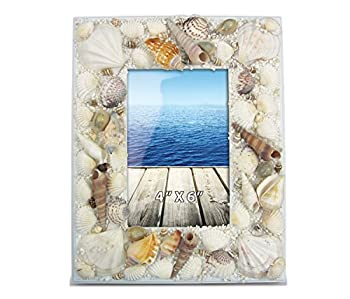 CoTa Global Sand and Seashells 4  x 6  Photo Frame Nautical Handcrafted Wooden Picture Holder w/ Easel Back Aquatic Ocean Life Real Shells Novelty Frame Bright & Unique for Marine Beach Themed Rooms