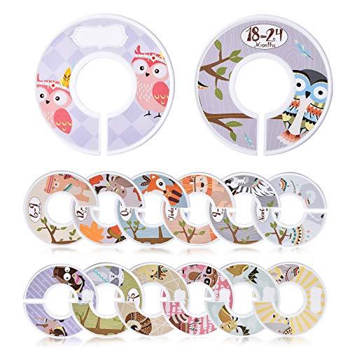 Lanthour - Divisores de armario para bebé, 14 piezas de ropa de bebé, organizador de ropa de plástico para bebés de 0 a 24 meses, diseño de animales