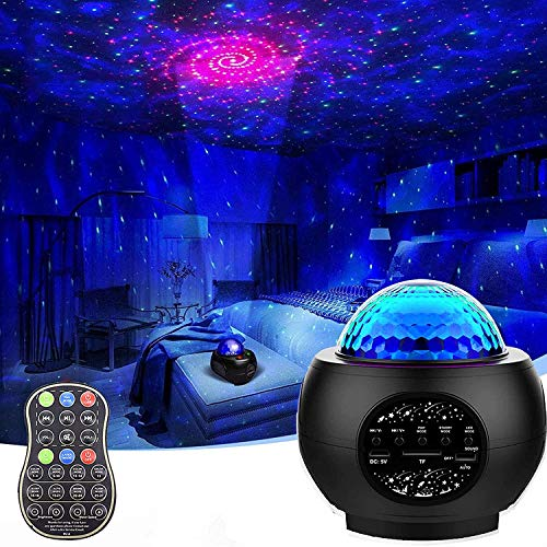 Galaxy Projector Star Projector, Starry Night Light for Bedroom, LED Space Sky Moving Ocean Wave Lamp with Remote, Room Decor, Bluetooth Music Speaker for Baby Kids/Party/Gift Choice (Black)