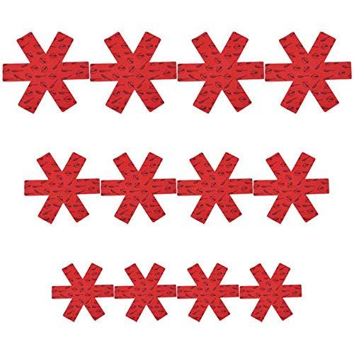 SEOLQX 12 Protectores de ollas para ollas, Telas no Tejidas, Protectores a Prueba de rayones para macetas de Mesa, Separador de sartenes, Mantel Individual, Utensilios de Cocina, ESPAÑA, Rojo
