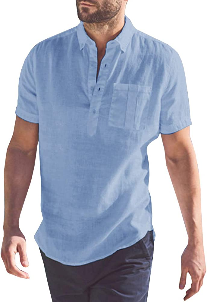 Mens Short Sleeve Polo Shirts Beach Linen Cotton Yoga Summer Casual Henley Tops with Pocket