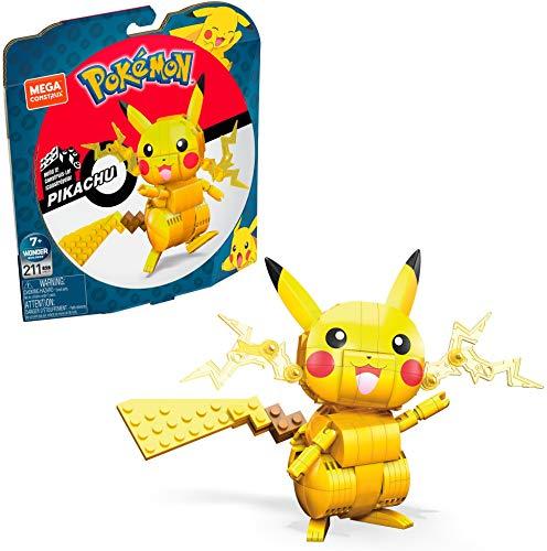 Mega Construx GMD31 - Pokémon Medium Pikachu (10cm), Bauset mit beweglicher Figur, Spielzeug ab 7 Jahren