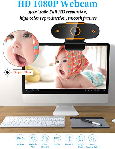 AODE Webcam PC Full HD 1080P con Micrófono Cámara Web Portátil para PC USB 2.0 Streaming Cámara Reducción de Ruido para Videollamadas Grabación Conferencias con Clip Giratorio miniatura