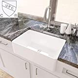 Product Image of the KES White Farmhouse Sink 30 Inch Kitchen Apron Front Undermount Sink Single Bowl, BVS117