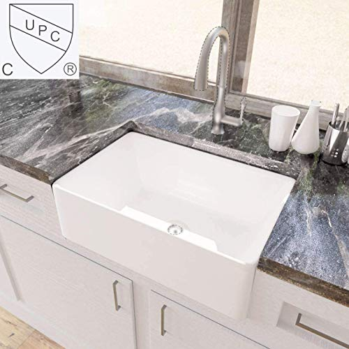 KES White Farmhouse Sink 30 Inch Kitchen Apron Front Undermount Sink Single Bowl, BVS117