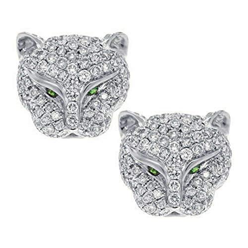 Silver Leopard Head Rhinestone Crystal Earrings Animal Ear Studs Jaguar Cat