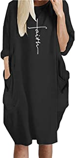 Dress For Women Faith Print Causal Loose With Pockets
