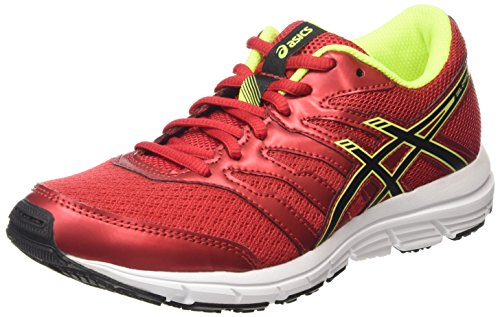 ASICS Unisex-Kinder Gel-Zaraca 4 Gs Laufschuhe, Rot (racinig Red/Black/Flash Yellow 2390), 37.5 EU