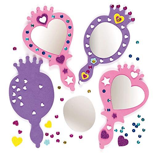 Baker Ross Princess Mirror Kits, Fun, Foam Craft Project for Kids — Ideal for Kids to Decorate, Arts and Crafts, Gifts, Keepsakes and More (Pack of 4)