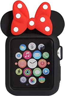 Navor Soft Silicone Protective Case for Cartoon Mouse Ears Compatible for Apple Watch 42mm Series 1 2 3 [Black Red]
