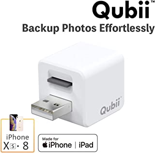 iPhone iPad Flash Drive, Simply Backup Photos & Videos for Non-Tech Person, Photo Stick for iPhone, Qubii Photo Storage Device for iPhone & iPad, External Storage Expansion【Not Included microSD Card】