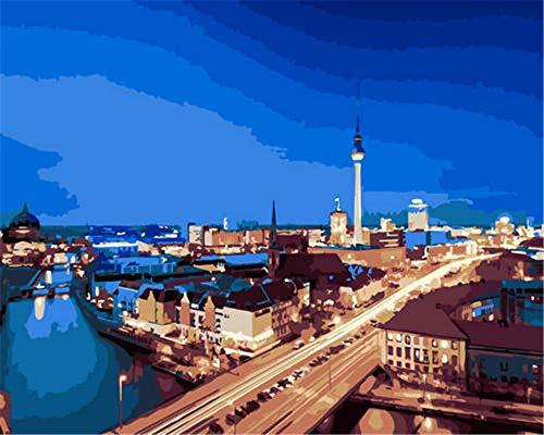 N\A Pintar Numeros For Mayores Avanzada Niños Joven Torre De Televisión De Berlín DIY Acrilico Pintura Kit Pinturas con Numeros para Adultos
