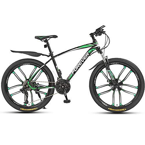 26 Zoll Mountainbike, Geeignet Ab 160 Cm, Scheibenbremse, 30 Gang-Schaltung, Gabel-Federung, Jungen-Fahrrad & Herren-Fahrrad,Grün,ten cutter wheel