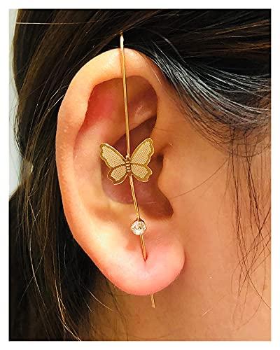 Houren Nuevas Pendientes de Gancho de la orejilla de la Oreja para Las Mujeres Envolvente Auricle Auricle Diagonal Perno Cobre incrustado Zircon Piercing Pendientes / 1 PC (Metal Color : S8298)