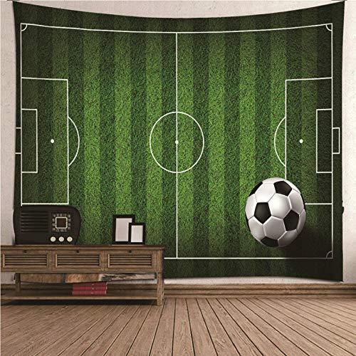 Aimsie Tapiz de pared, diseño de campo de fútbol y fútbol, poliéster, 200 x 200 cm, color verde
