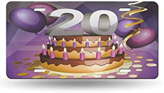 dsdsgog Personalized License Plates 20th Birthday,Cartoon Style Illustraion of a Birthday Cake Chocolate Frosting and Candles,Multicolor 12x6 inches,Universal Fit for SUVs and Vans
