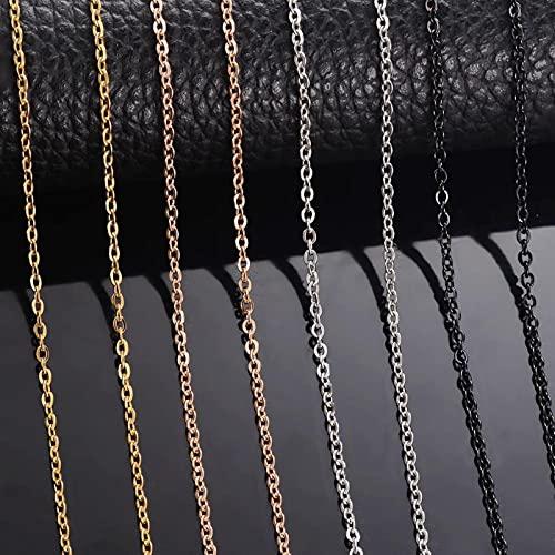CXWK 10 unids/Lote Collar de Cadenas Hombres Mujeres Acero Dorado/Negro eslabones de Acero Inoxidable Collares de Cadena Cubana para joyería
