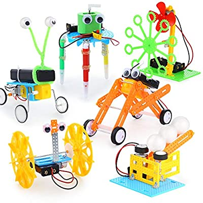 Sntieecr 6 Set Electric Motor Robotic Science Kits, DIY STEM Kids Science Assembly Kit, Building Engineering Circuit Educational Robot Learning Kits for Kids STEM Science Projects