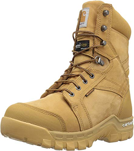 Carhartt Men's 8' Rugged Flex Insulated Waterproof Breathable Soft Toe Work Boot CMF8058, Wheat NuBuck, 10 M US