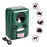 Repelente para gatos, Volador Repelente Ultrasónico de Animales, Batería Solar Impermeable, Sensor de Movimiento y Luz Intermitente Detector de Para Gatos, Perros, Aves, Ardillas, Topos, ratas