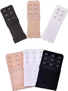 ROSENICE 6pcs Women Bra Extenders Elastic Bra Strap Extenders 3 Rows 2/3 Hooks for Female Ladies Black Apricot White