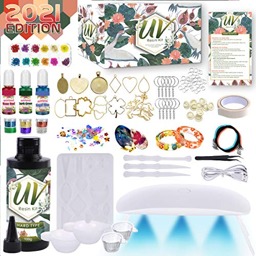 Catcrafter Epoxy Resin Set for Beginners - UV Light Crystal Clear Mold Starter...