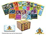 50 Pokemon Cards Plus 5 Holo Foil Rares and Learn to Play Pokemon Instructions and Pokemon Coin - Includes Golden Groundhog Treasure Chest Box!
