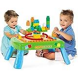 Spieltisch mit Bauplatte, 50 Steine, Beine klappbar, ab 1 Jahr - Kinder Bautisch, Lerntisch, Spielzeug, Steck Baustein, Der Tisch lässt Sich problemlos zu einem platzsparend Tablett zusammenklappen.