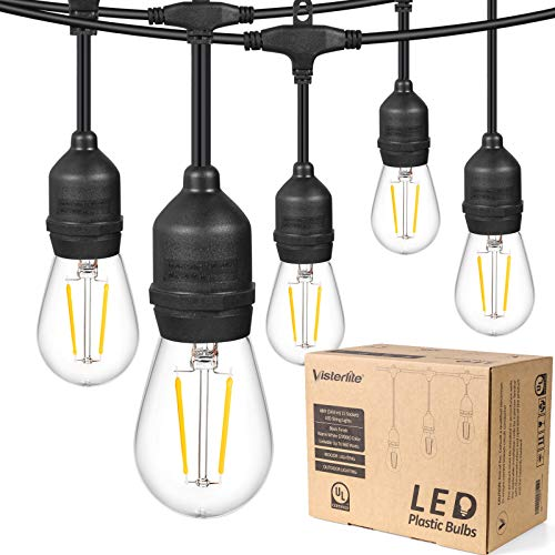 VISTERLITE 48FT Outdoor String Lights, LED Shatterproof 2W Dimmable Edison Vintage Plastic Bulbs, Waterproof Connectable Hanging Lights for Backyard Porch Balcony Party Decor, E26 Socket Base, Black