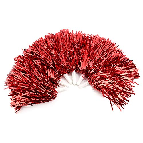 Dioche Cheerleading Poms, Cheer Plastic Pom für Ball Abendkleid Cheer Party Kostüm Sport Tanz(Rot)