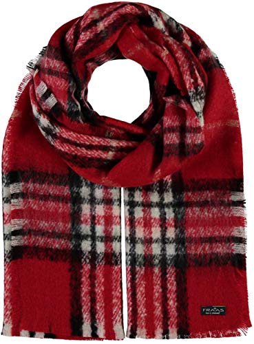 FRAAS Damen-Schal kariert aus Cashmink® - 35 x 200 cm - Made in Germany - Elegante karierte Stola - Hochwertiger Winter-Schal - Stilvolles Plaid mit Muster Rot