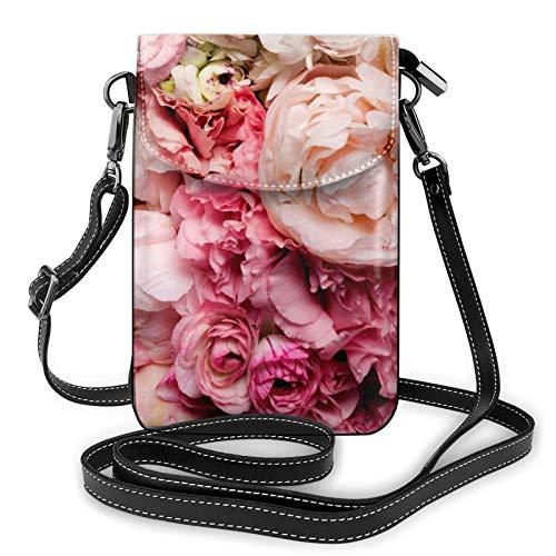 IUBBKI Rose Small Crossbody Shoulder Phone Bag Card Holder Wallet Purse Phone Pocket for Woman Handbag With Adjustable Strap Leather