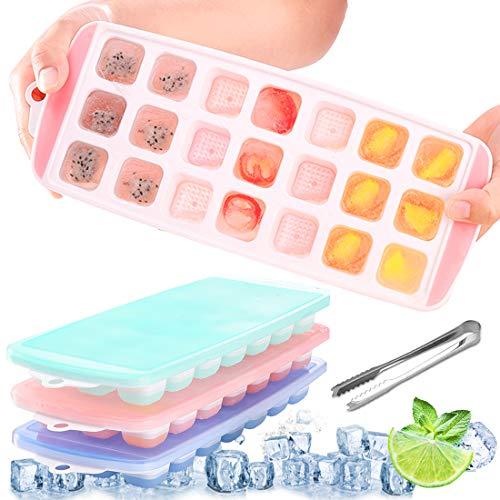 Eiswürfelform Silikon, 3 Stück Eiswürfel Form Eiswürfelbehälter mit Deckel, mit 1 Zange Eiswürfel, Ice Cube Tray, Eiswürfelformen Eiswuerfel Eiswürfelform für Familie Partys Bars, 21-Fach