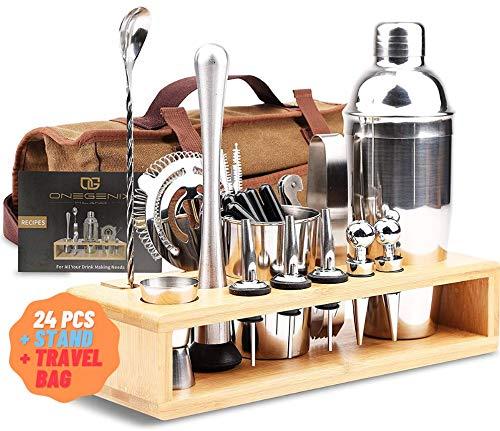 Cocktail Shaker Set Bartender Kit 24 pcs w/ Stand & Travel Bag | Complete Bartendering Kit Stainless Steel | Home Bar Kit w/ Mixer, Strainer, Accessories, Recipe Book for Margarita, Martini & Gift!