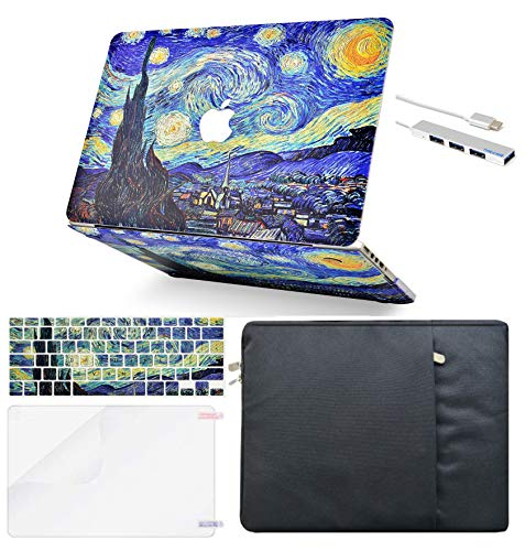 LuvCase 5 in 1 LaptopCase forMacBookAir 13 Inch A1466 / A1369 (No Touch ID)(2010-2017) HardShellCover, Sleeve, USB Hub 3.0, Keyboard Cover & Screen Protector (Starry Night)