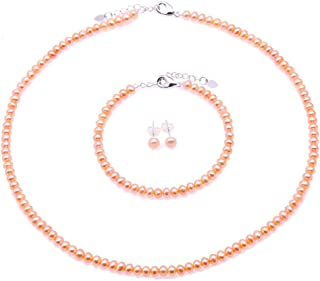 JYX Pearl Necklace Set AA+ 4-5mm Tiny Pink Freshwater Cultured Pearl Necklace Bracelet and Earrings Set for Women and Girls