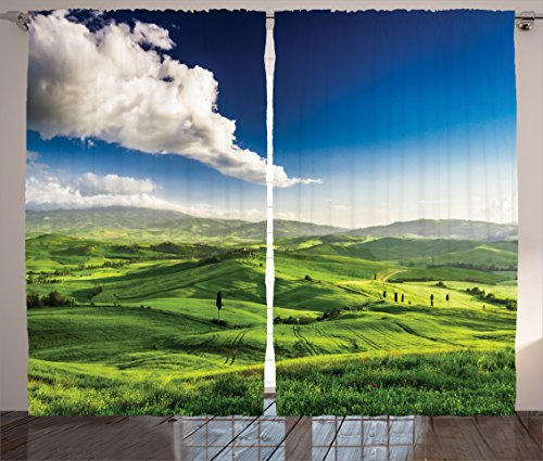 """Ambesonne Tuscany Curtains, The Valley at Sunset in Tuscany a Farmhouse for Getaway Villa by The Place of Meadow Cultivated Land, Living Room Bedroom Window Drapes 2 Panel Set, 108"""" X 90"""", Lime Green"""
