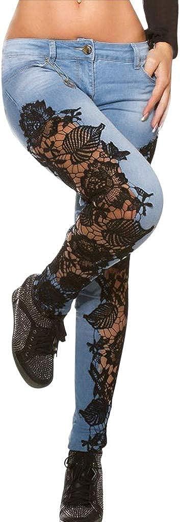 Jeans Pant for Women, Fashion Women Lace Hollow Out Floral Appliques Skinny Denim Jeans Pencil Pants