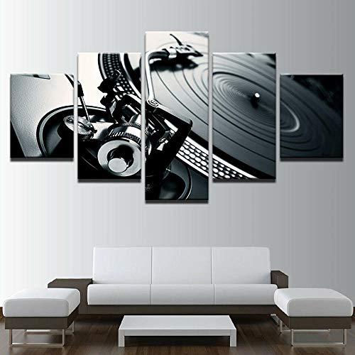 5 Piezas Cuadro Sobre Lienzo De Fotos Consola De Música Dj Mixer Spinning Lienzo Impresión Cuadros Decoracion Salon Grandes Cuadros Para Dormitorios Modernos Mural Pared 5 Partes Carteles Regalo