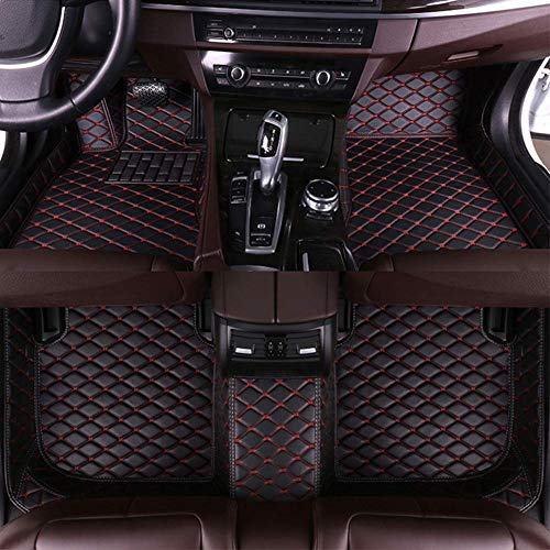 8X-SPEED Custom Car Floor Front and Rear Mats Set for Toyota Honda Nissan Mazda Chevy and Other Brand Full Coverage All Weather Protection Waterproof Non-Slip Anti-Scratch Leather Black red
