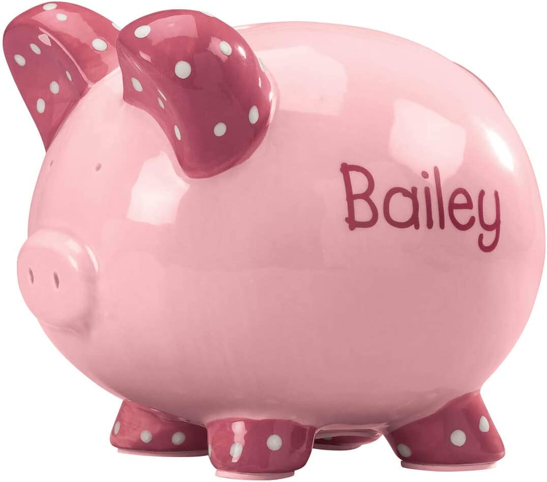Miles Kimball New Free Shipping Personalized Kid's Fixed price for sale Font Piggy Bank Pink -